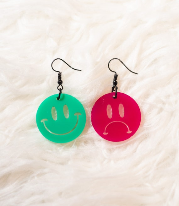 Pink Green Happy and Sad Mood statement earrings