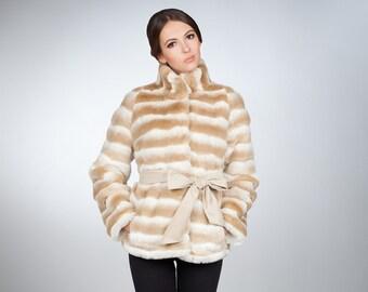 Faux fur coat chinchilla beige by ARTFUR
