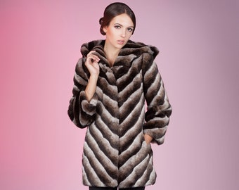 Faux fur coat chinchilla brown slanted by ARTFUR