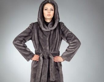 Faux fur coat mink iris by ARTFUR