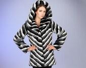 Women coat. Fur coat. Winter coat. Gift for her. Fake fur coat. Faux fur coat chinchilla black slanted by ARTFUR