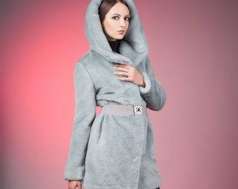Faux fur coat mink blue by ARTFUR