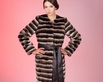 Faux fur coat chinchilla brown by ARTFUR