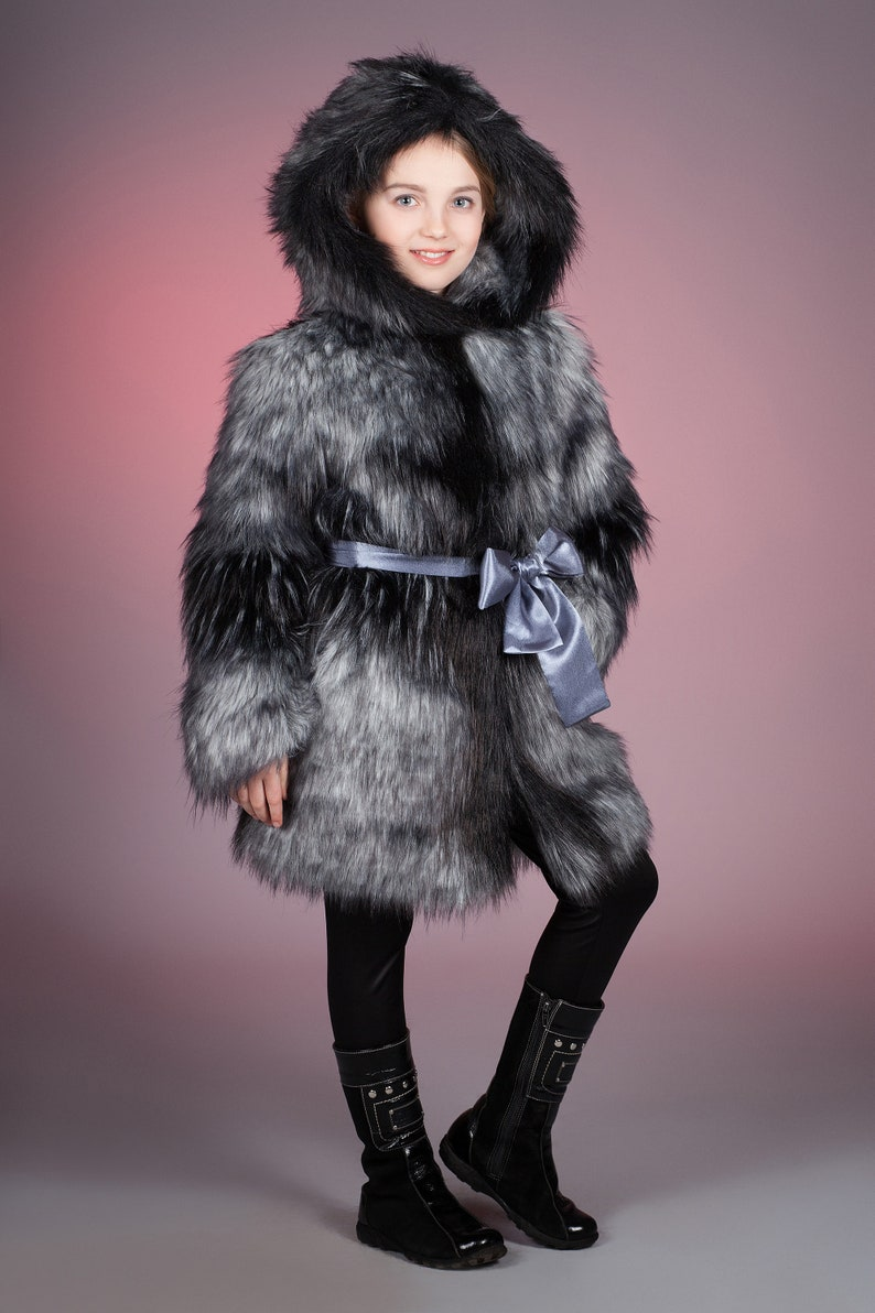 Fake fur kids coat Fur kids coat Winter kids coat Faux fur kids coat fox silver uncut by ARTFUR Gift for children Kids coat