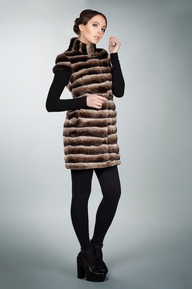 Faux fur vest chinchilla brown by ARTFUR Winter vests Women vest Gift for her Fur vest Fake fur vest