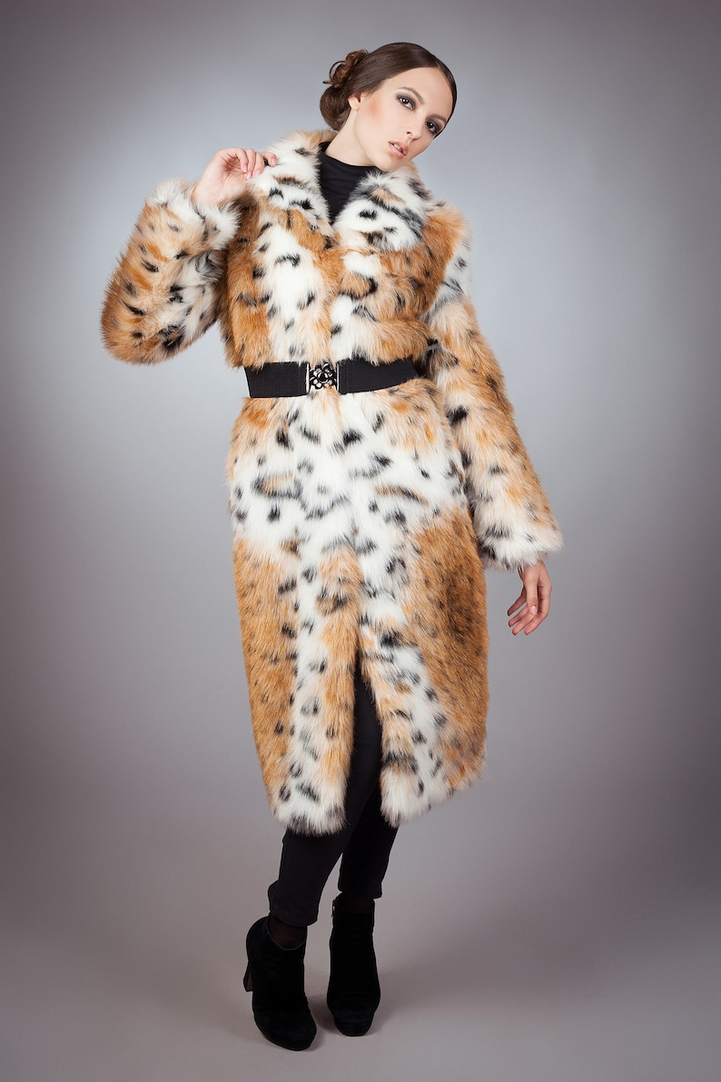 Fur coat Winter coat Faux fur coat lynx by ARTFUR Fake fur coat Women coat Gift for her