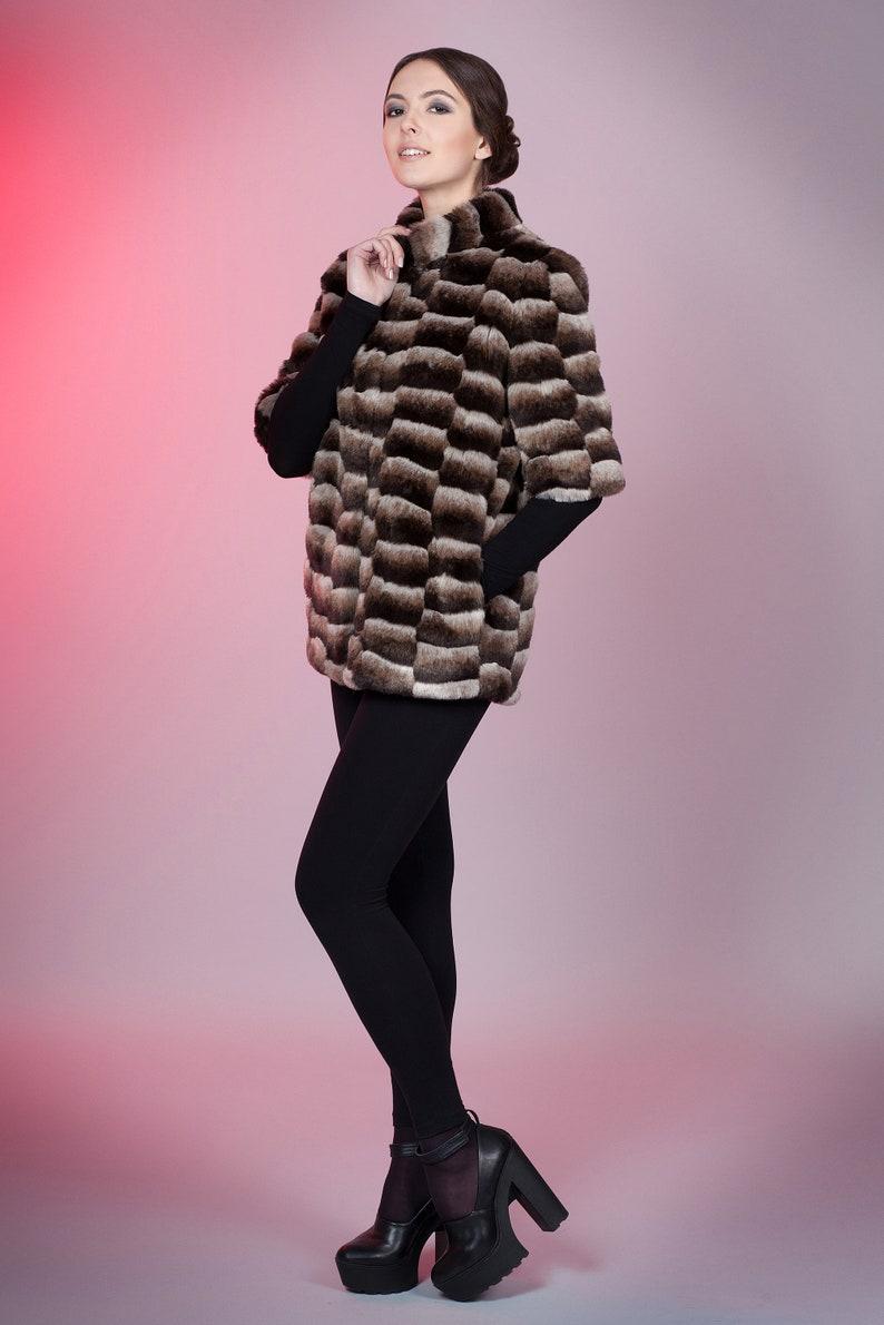 Women jacket Winter jackets Faux fur jacket chinchilla brown chess by ARTFUR Fur jacket Fake fur jacket Gift for her