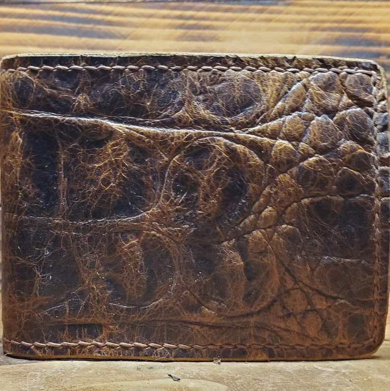 Distressed Brown Hand Made Alligator Embossed Genuine Leather Card HolderMoney Clip