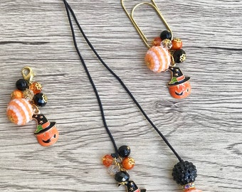 Fall, Autumn, Halloween pumpkin planner charm, dangle, paperclip, tassel.
