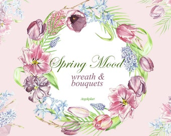Watercolor clipart spring mood, 8 bouquets , 2 wreath pink, flowers clipart,  wedding invitation, greeting card, floral clipart