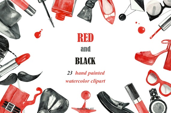Fashion Watercolor Clipart Red And Black 23 Hand Painted Etsy