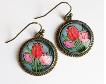 Personalized leaf accessory Real Pressed Flower Jewelry Minimalism Drop Earrings Big Dangly Resin Earrings Red Tulip Flower Earrings