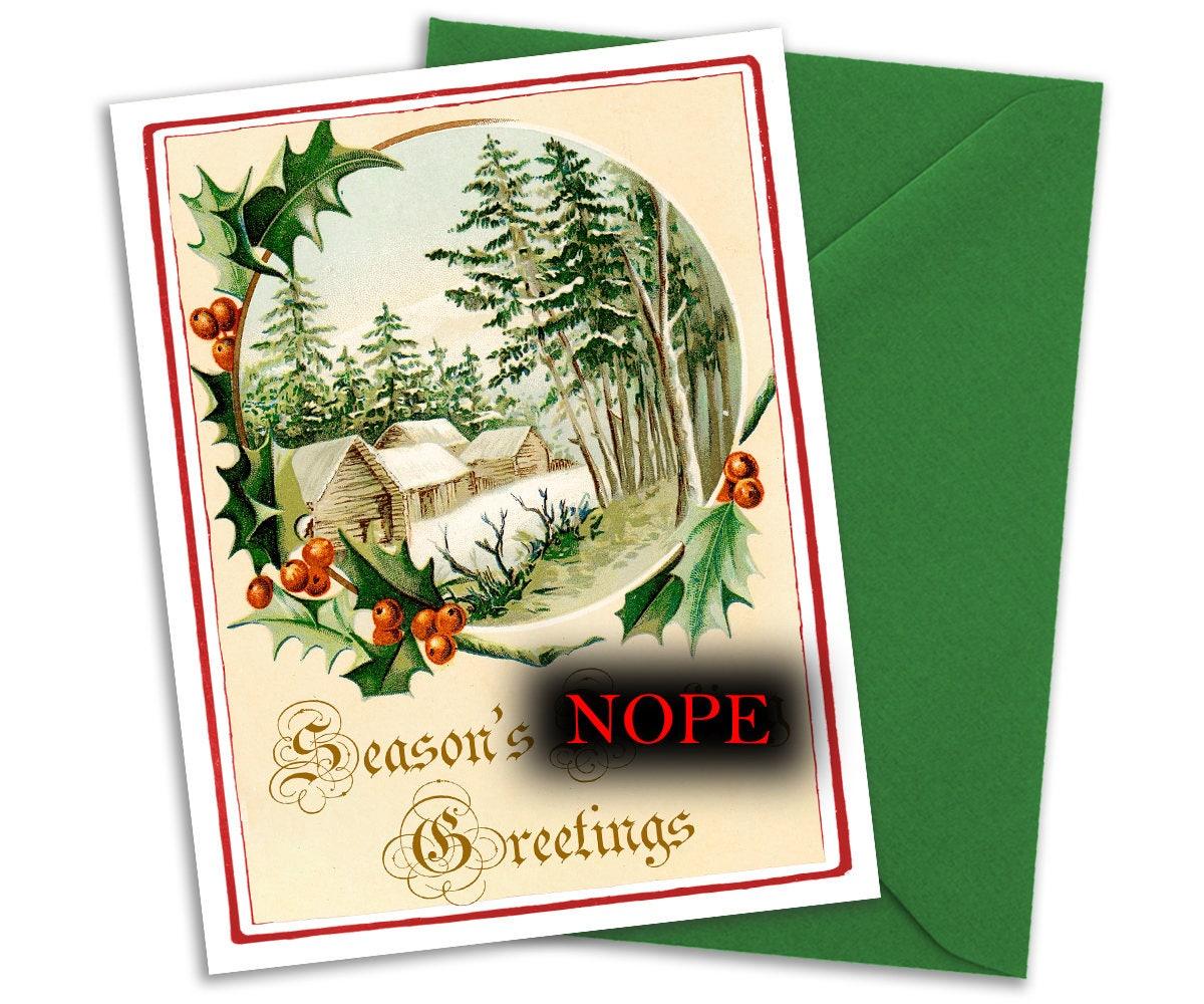 Victorian Christmas Card With Profanity Swear Word Christmas Etsy