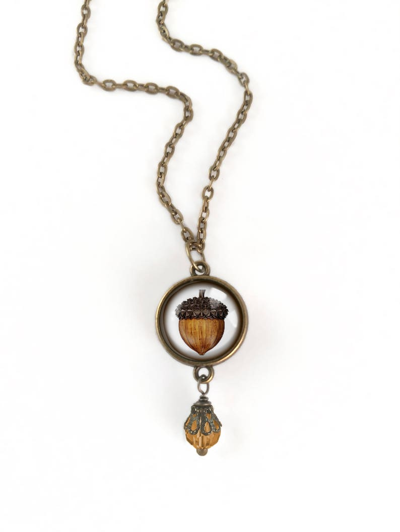 Mighty Acorn Reversible Pendant Necklace with Bead Accent