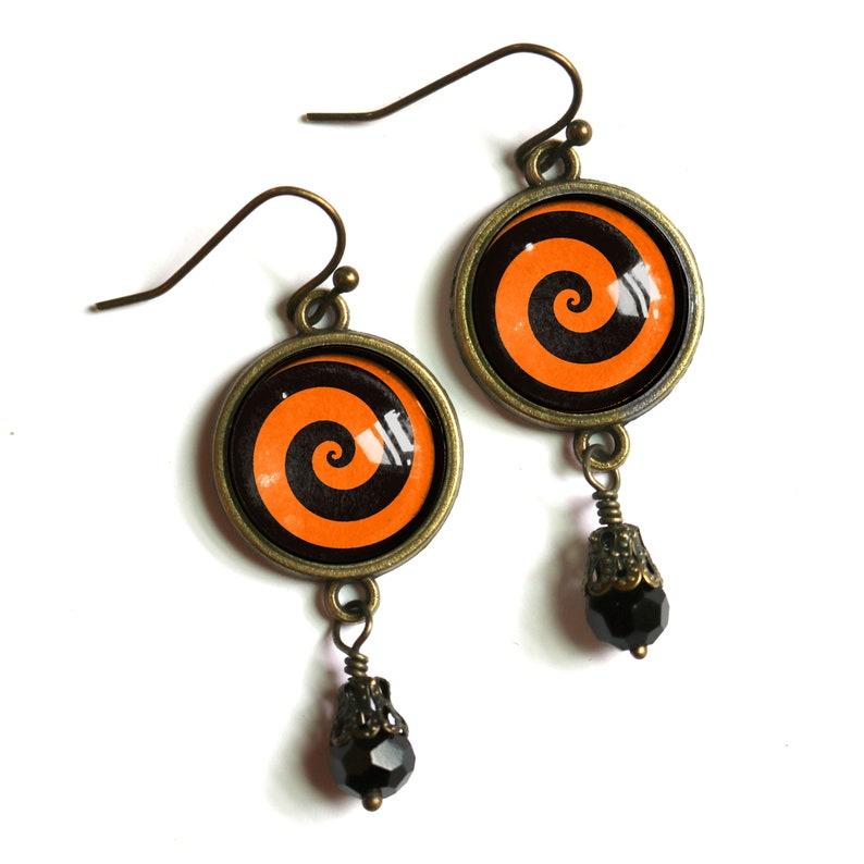 Orange and Black Spiral Swirl Halloween Vintage Inspired Drop  Dangle Earrings