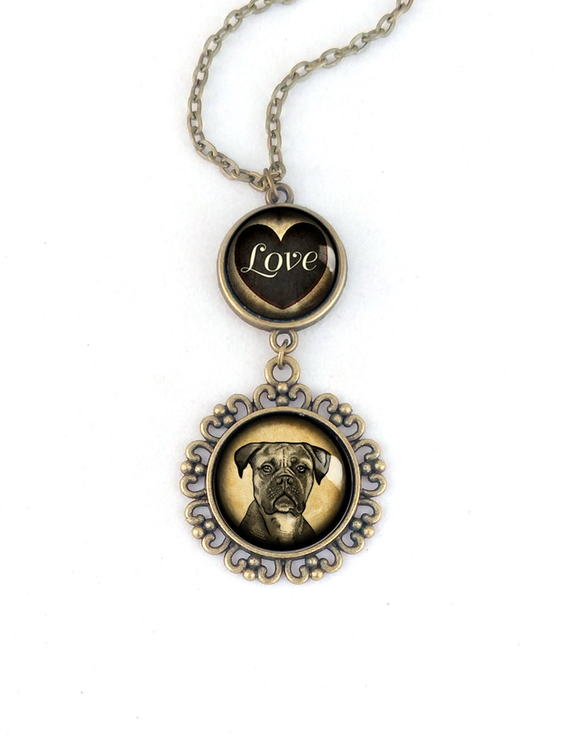 Boxer Dog Large Pendant Necklace in Ornate Frame Glass with LOVE Cabochon Pendant