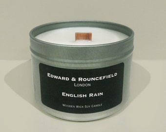 English Rain Wooden Wick Soy Wax candle
