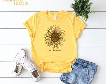eed8bc1d6b66 Sunflower shirt   Etsy