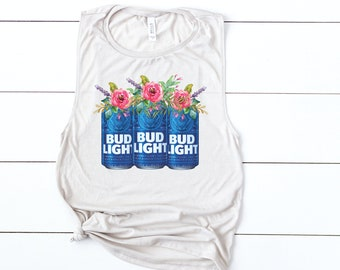 c9d8744cbd BUD LIGHT beer tank beer tank with flowers cute beer shirt