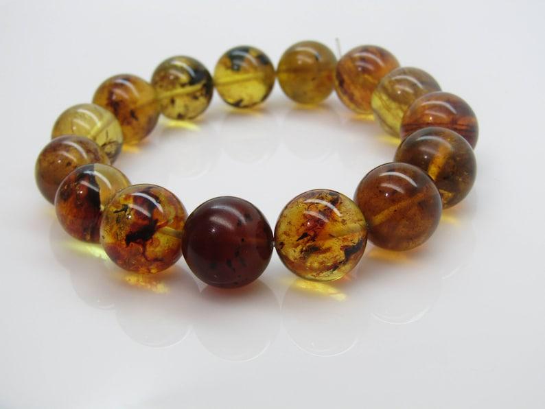 #69 Genuine Bracelet dominican amber natural green 14.70 MM spheres beads 25.6 G