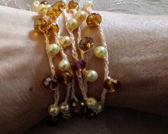 Boho Crochet Beaded Necklace Multi Strand Bracelet Delicate Dainty Unique  OOAK