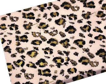 """End of the Bolt 16"""" Gold Leopard on Pink Fabric, Wildlife Fabric, Fabric by the yard, Quilting Fabric, Apparel Fabric, 100% Cotton Fabric"""