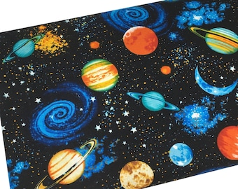 Space Fabric, Planet & Stars, Fabric by the yard, Fat Quarter, Quilting Fabric, Apparel Fabric, 100% Cotton Fabric
