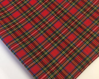 red plaid fabric red royal stewart tartan fabric fabric by the yard fat quarter quilting fabric apparel fabric 100 cotton fabric s 6