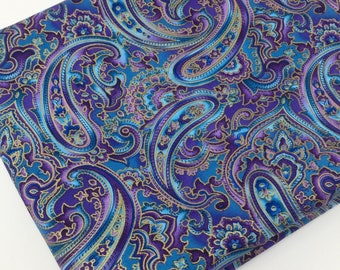 4c1f443ba97 Blue and Purple Metallic Fabric Fabric by the yard, Fat Quarter, Quilting  Fabric, Apparel Fabric, 100% Cotton Fabric, R4-25