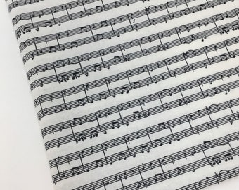 Polycotton Fabric Musical Notes Keys Material CRAFTS