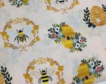 Pink Blue Flowers /& Bumble Bees on Blue 100/% Cotton Fabric Floral Fabric