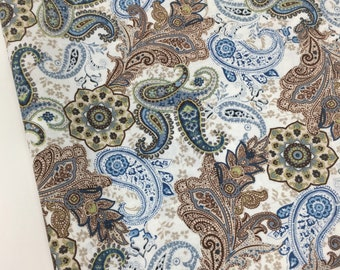 Blue and Brown Paisley Fabric, Fabric by the yard, Fat Quarter, Quilting, Apparel, 100% Cotton, R 3-33