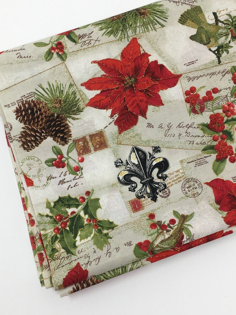 Fat Quarter Christmas Poinsettia 100/% Cotton Quilting Fabric