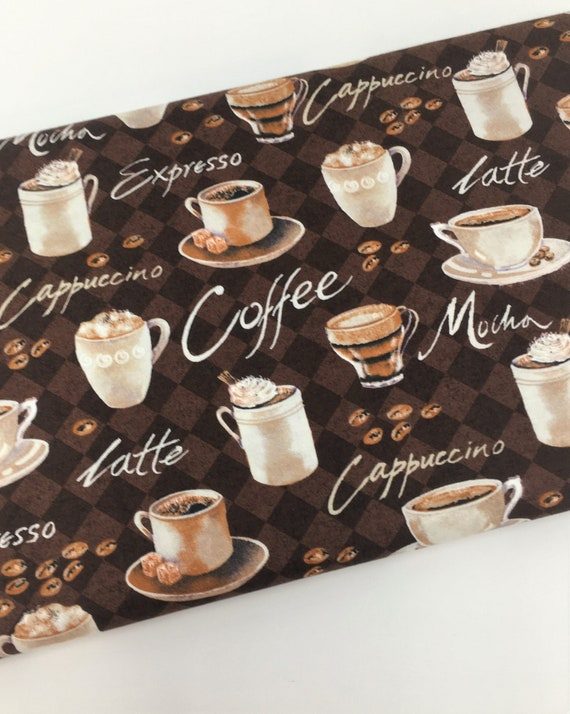 Coffee Cups Mugs Drinks Cafe 4 Parallel Stripes Cotton Fabric BTY D786.44