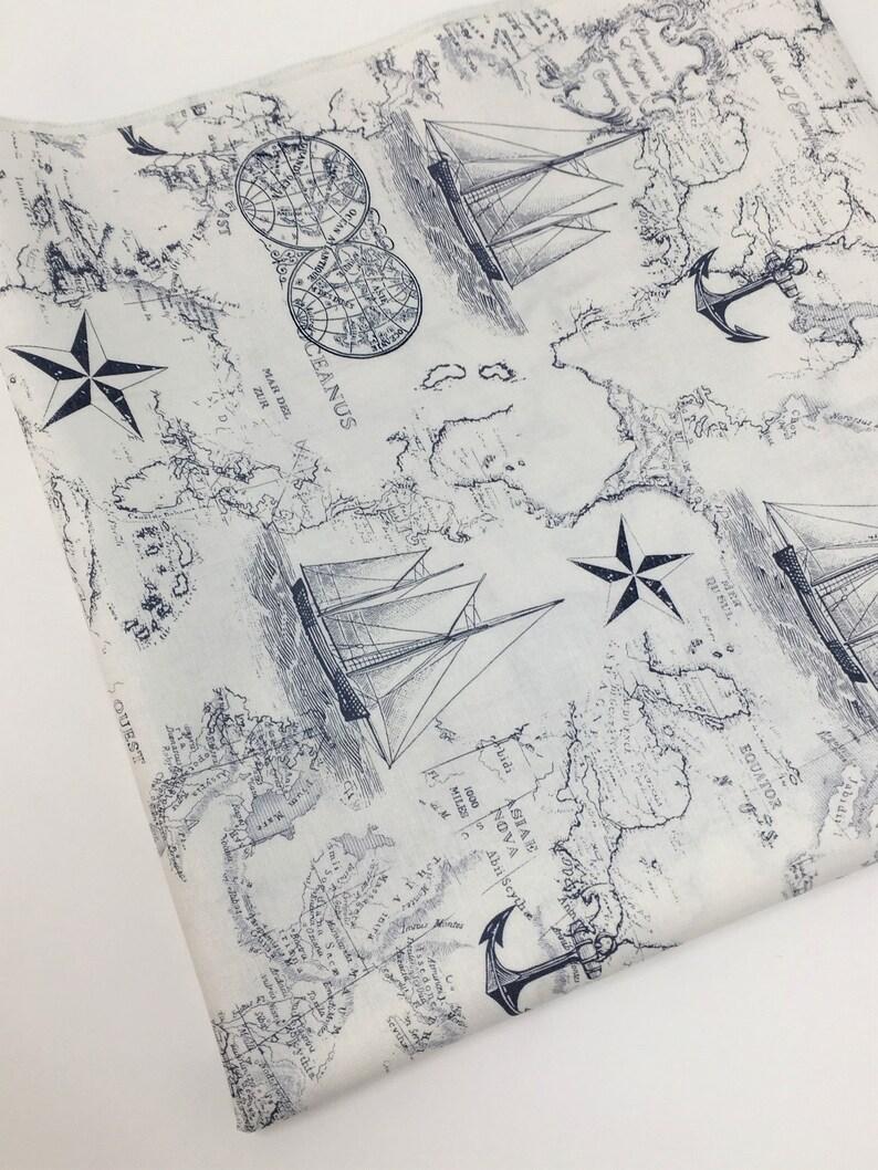 Tissus Ameublement La Rochelle tissu de carte nautique, marine nautique carte tissu, tissu par yard, fat  quarter, tissu patchwork, vêtements tissu, 100 % coton tissu, p5-37