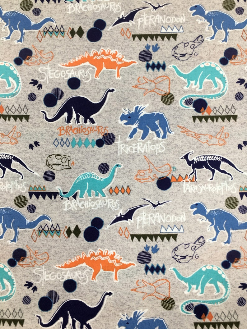 Apparel Fabric Dinosaur Gray Fabric by the yard 100/% Cotton Fabric Quilting Fabric End of the Bolt 27 Dino Fabric