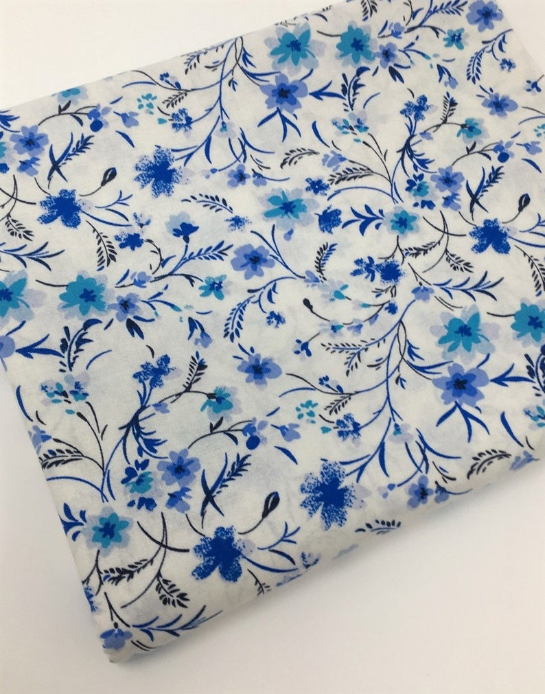 Floral Fabric Blue And White Floral Fabric Fabric By The Etsy