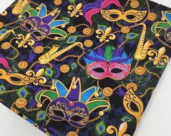 Mardi Gras Masks Fabric, Masquerade Celebration,  Fabric by the yard, Fat Quarter, Quilting Fabric, Apparel Fabric, 100% Cotton Fabric, T-9
