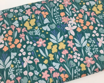 Floral Woodland Cute Cotton Fabric, Sketched Wild Flower Fabric, Fabric by the yard, Quilting Fabric, Apparel Fabric, 100% Cotton, P1-24