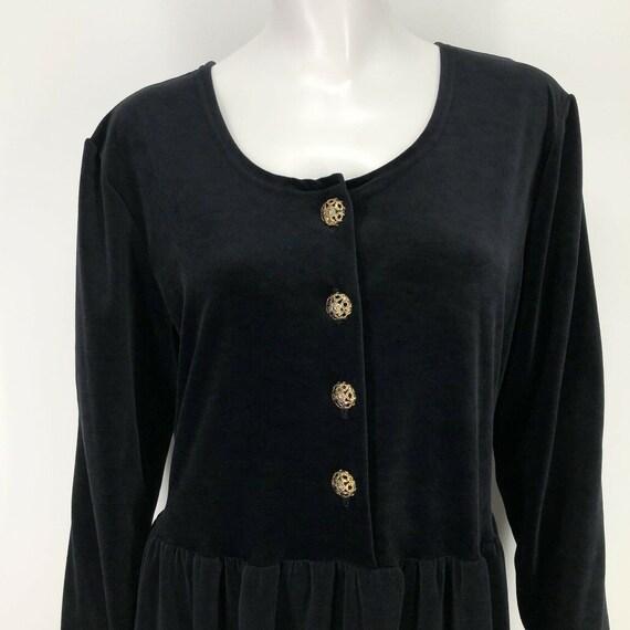 Vintage Black Velvet Velour Maxi Dress Womens Lar… - image 2