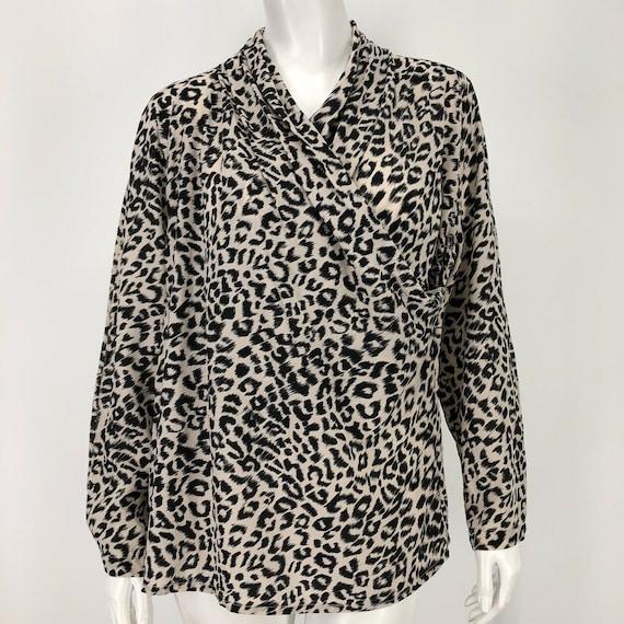Vintage Fyzal Virani 8 Silk Shirt Leopard Animal P