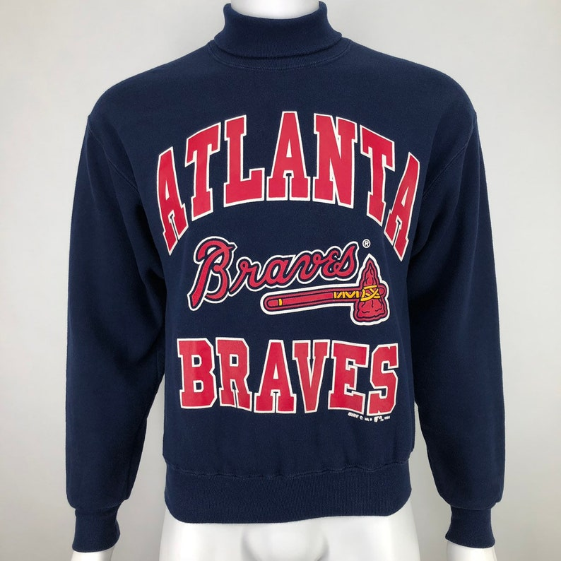 pretty nice b29f8 90225 Vintage 90's BIKE Mens Medium Atlanta Braves Sweatshirt Turtleneck MLB Made  in USA M *Runs Small