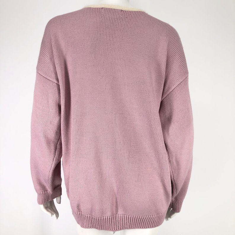 Vintage Eve /& Co Womens 18 W Sweater Faux Pearls 90/'s Pink Purple Ivory Rockabilly Pin Up