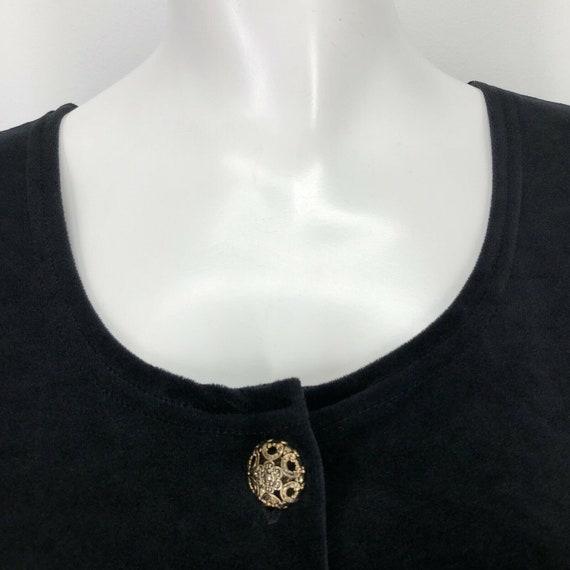 Vintage Black Velvet Velour Maxi Dress Womens Lar… - image 3