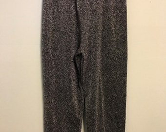 Vintage 80's S Small Black Metallic Silver High Rise Funky Glam Womens Pull On Pants by Lisa Originals