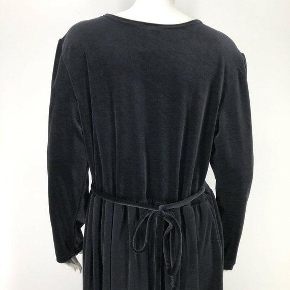 Vintage Black Velvet Velour Maxi Dress Womens Lar… - image 8