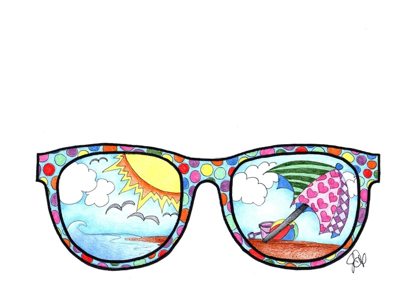Sunglasses Coloring Page Etsy