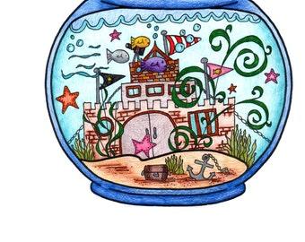 Fish Bowl Coloring Page!