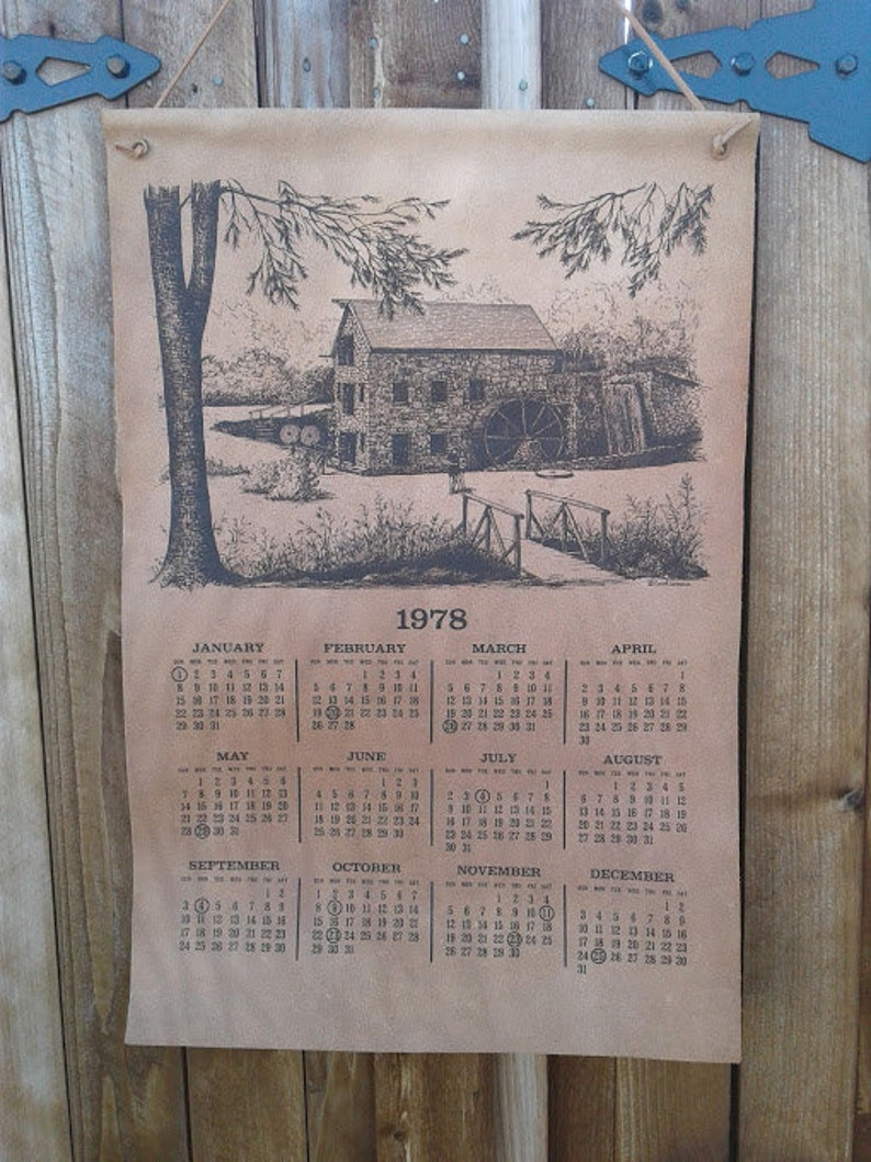 1978 Calendar September.Vintage Leather Wall Calendar 1978 Calendar Sawmill Print Watermill Wyoming Calendar Rustic Calendar Ranch Decor Mill Cottage