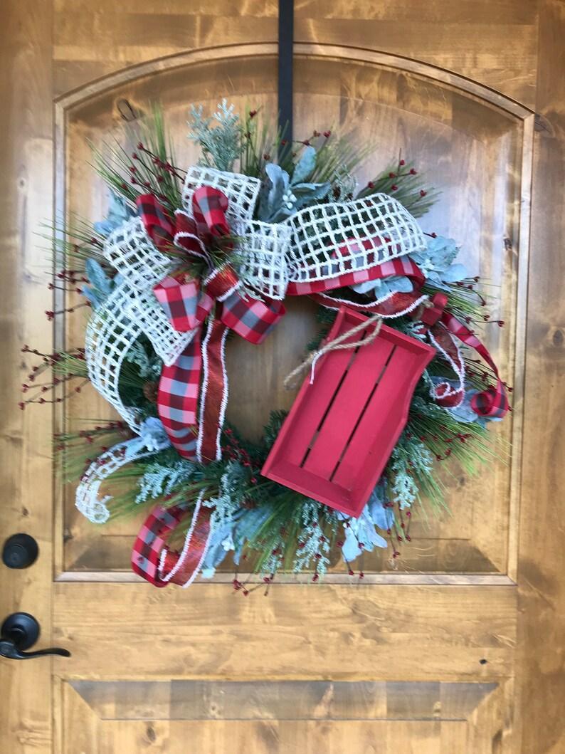 Rustic Christmas Wreaths To Make.Farmhouse Christmas Wreath Sleigh Christmas Wreath Rustic Christmas Wreath Woodsy Christmas Wreath Christmas Wreath Red Christmas Wreat